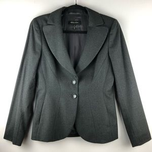 Escada Heather Grey Wool Blazer - Size 36